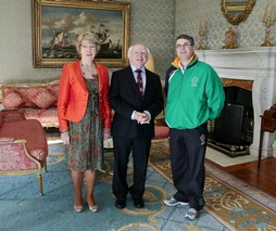 Fintan O Donnell and President Higgins